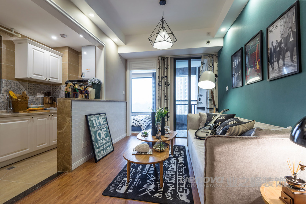 人居·东御佲家42平米样板间北欧风格装修设计客厅实景图图片