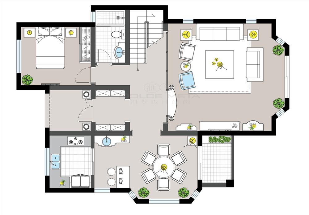 保利两河森林243平米联排别墅户型设计方案
